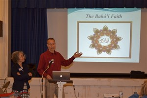 David and Mamak Dindy leading a conversation about their Baha'i faith.  [Photo by Jack Bisset]